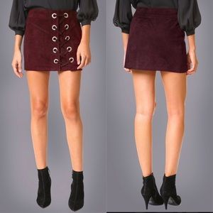 Parker Monica lace up suede skirt burgundy